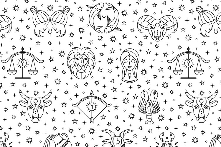 Pattern with zodiac signs and stars.
