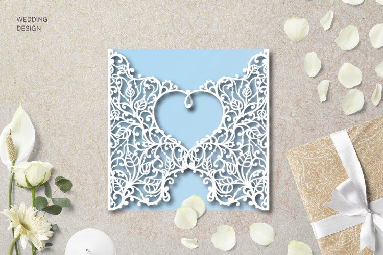 Laser cut Wedding Invitation 5,3x5,3 Template Heart card