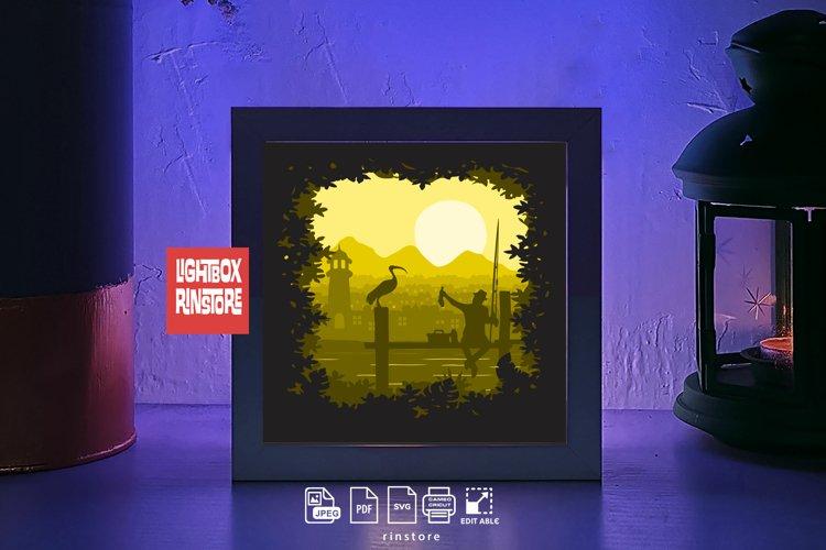 #226 Fishing , 3D Shadow box paper cut lightbox