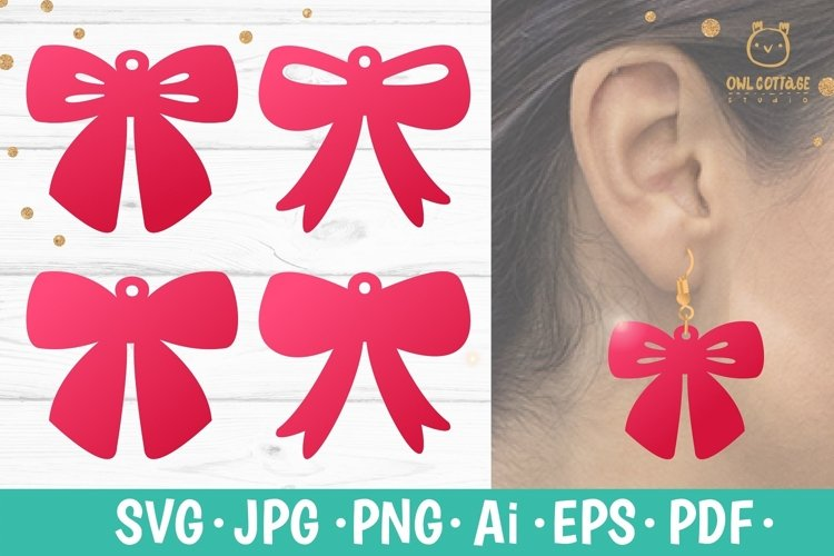 Bow Earrings SVG, Ribbon Earrings svg template, bow svg example image 1