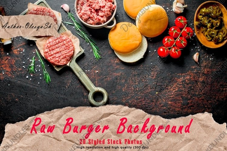 20 Photos Raw burgers. Cooking of beef Burger patties. example image 1