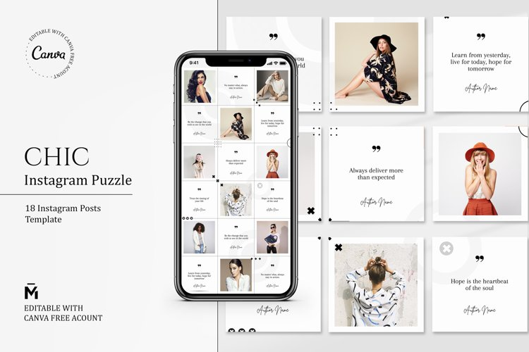 Chic PUZZLE TEMPLATE for Instagram - Editable with Canva