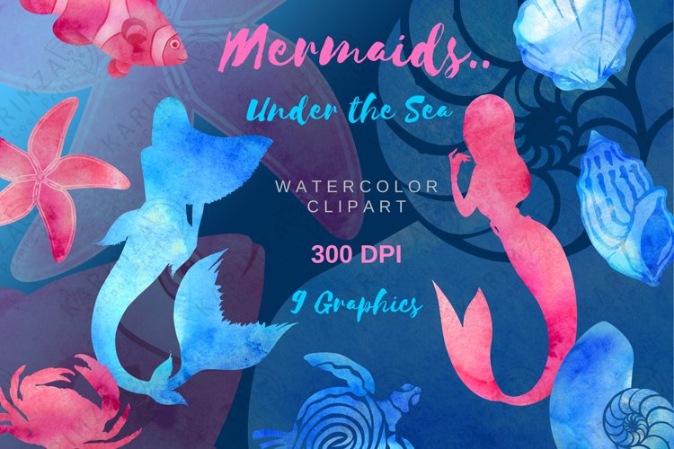 WATERCOLOR MERMAID CLIPART, Summer Nautical Clipart