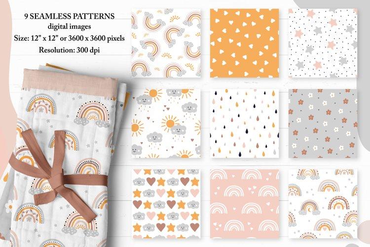 Digital Paper, Rainbow Digital Paper. Kids seamless patterns