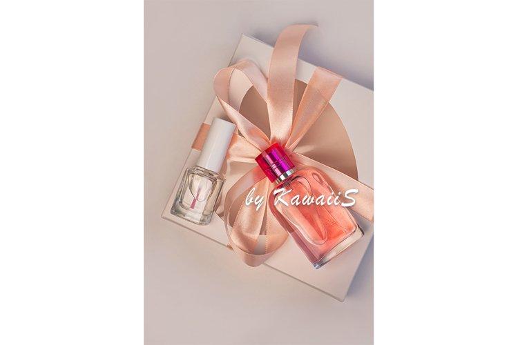 Gift box mockup perfume bottle nail polish template cosmetic example image 1