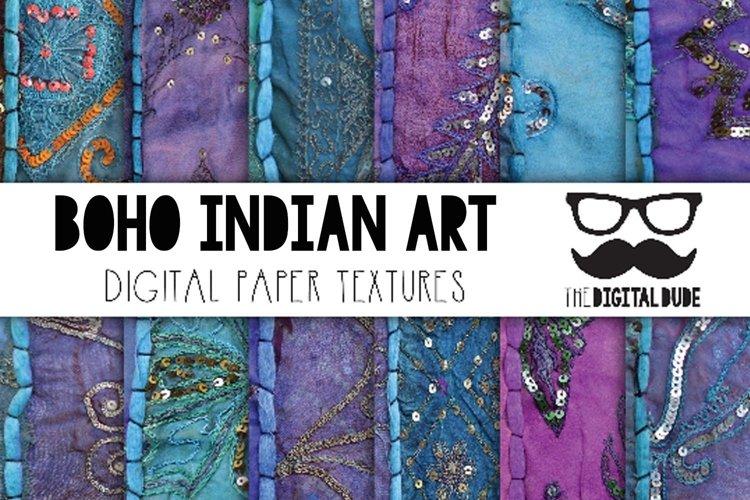 Boho Indian Fabric Art - Digital Papers Set of 12 Images