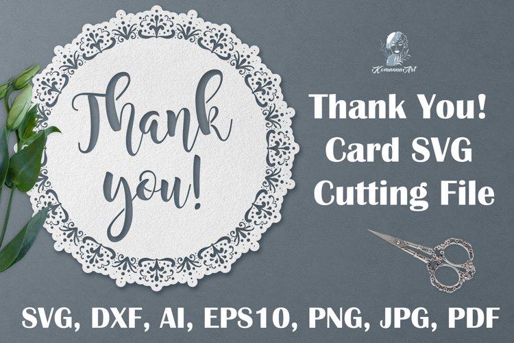 Thank You paper cut SVG, Card SVG cutting file, Circle card