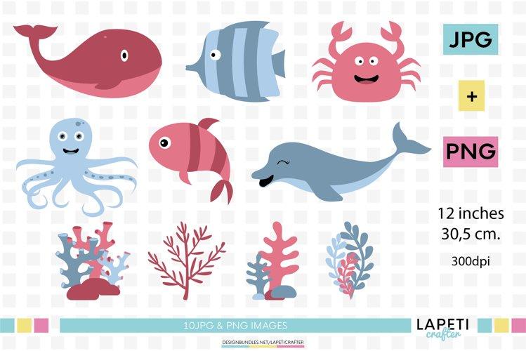 Sea animals clipart, under the sea creatures digital clipart