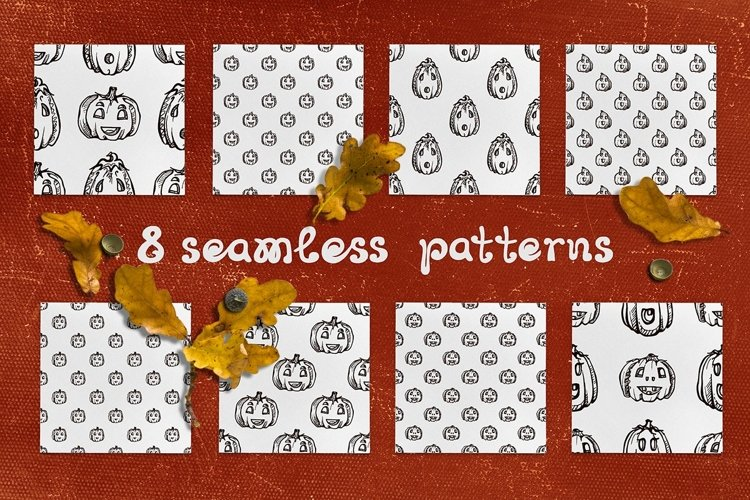 8 patterns with jack-o-lanterns   SVG EPS AI JPEG PNG PSD example image 1