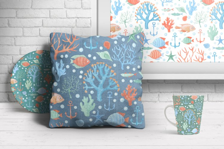 Sea Life Watercolor Seamless Pattern example 2