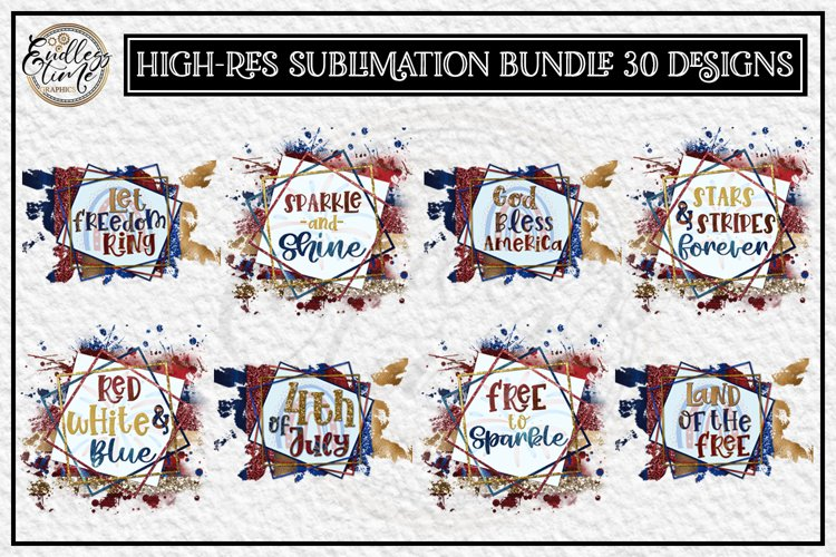4th of July Sublimation Bundle | 2 Styles | 4 in each Style