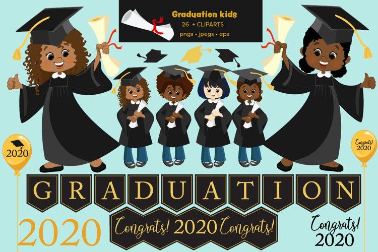 Multi-cultural kids, African American Graduation Clipart