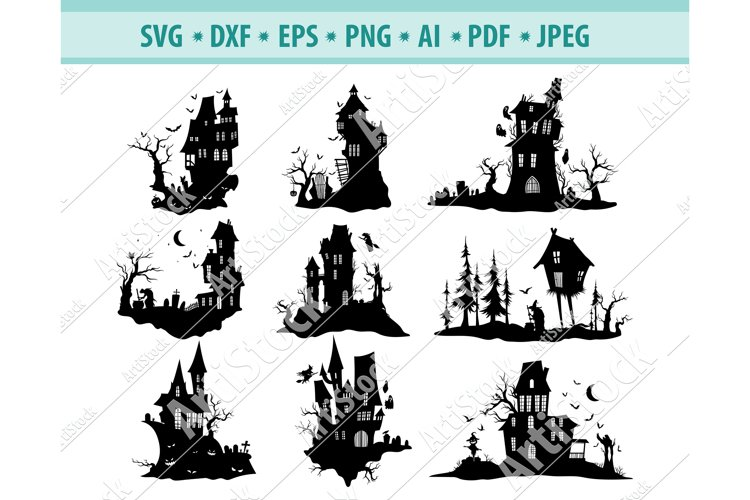 Haunted House SVG, Spooky Halloween SVG, Ghost Dxf, Png, Eps example image 1