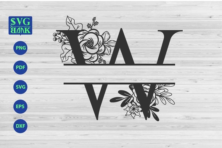 Split monogram letter W Svg, Alphabet floral initial logo W example image 1