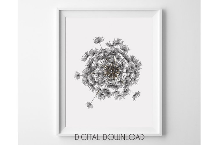 Dandelion Wall Art Large, Printable Digital Download example image 1