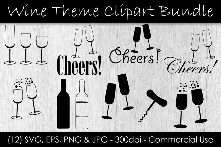 Wine Glass SVG - Wine Clip Art - Wine & Champagne Glass Art example image 1