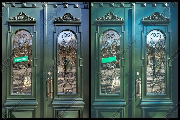 Vintage Green Door with space for text. Set of 3 photos
