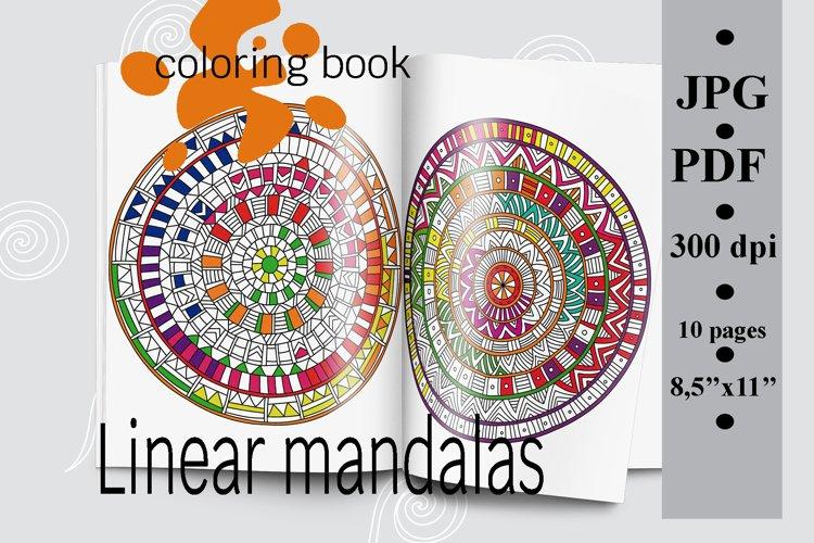 Linear mandalas coloring book, printable coloring pages