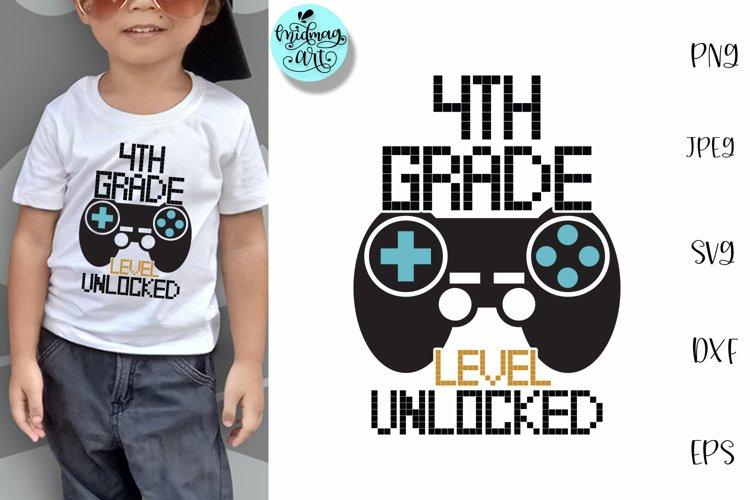 4th grade level unlocked svg, school svg example image 1