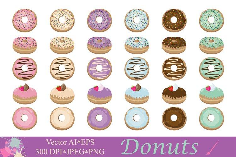 Donuts clipart / Doughnut clip art / Dessert illustrations / Cute sprinkled donut vector graphics