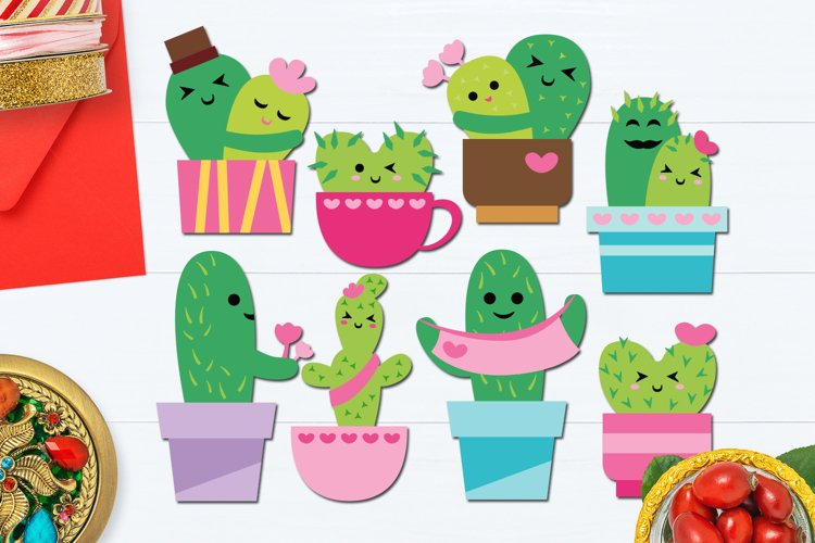 Valentine Cactus Love Illustrations example image 1
