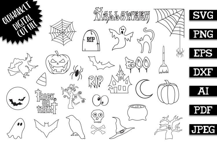 Halloween Doodles Vector Clip Art Set - SVG Cut File DXF EPS