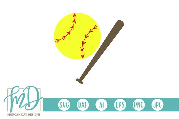 Softball - Softball Clipart - Softball Bat SVG example image 1