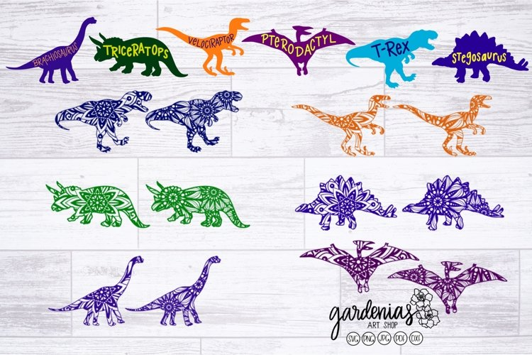 Dinosaur Mandala Bundle | Mandala SVG | Dinosaur Cut Files example image 1