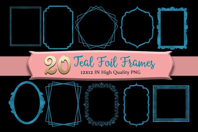 Teal Frames Clipart Set of 20