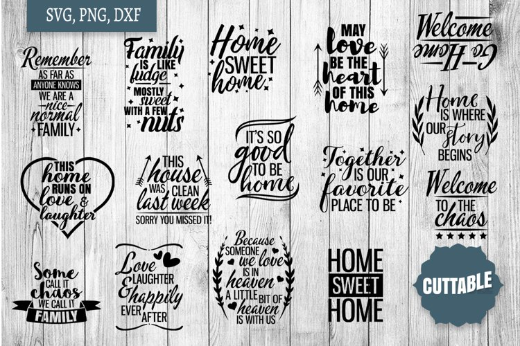 Home SVG bundle, Family quote cut file bundles, Home svgs example image 1