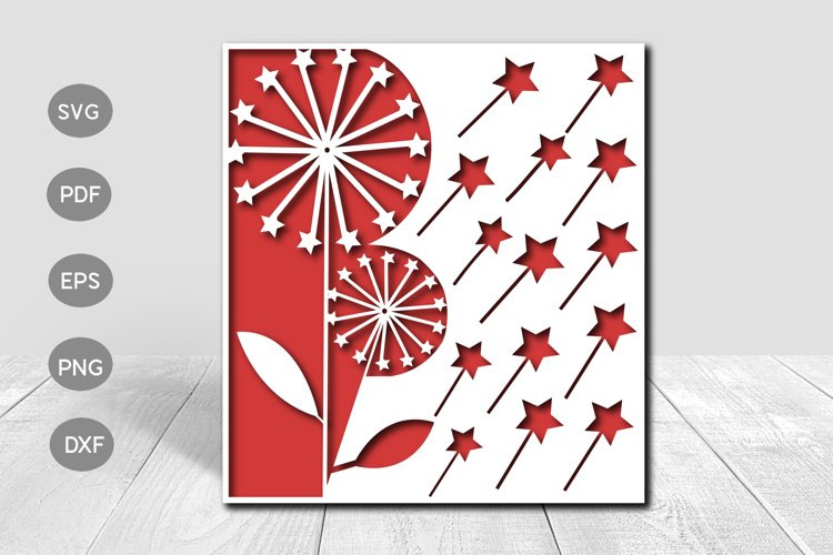 Star Dandelion Papercut Card Cover Template SVG Design example image 1