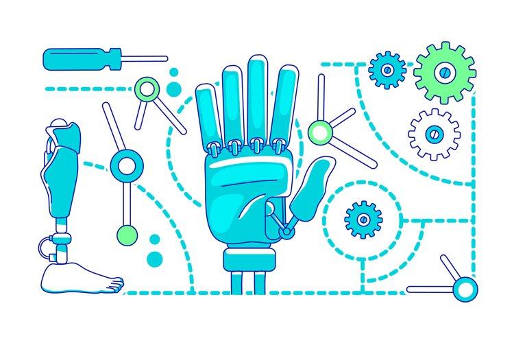 Prosthetics, bionics thin line concept vector illustration example image 1