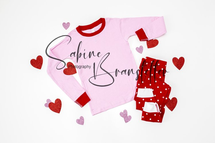 Styled Stock Photo Pink/Red Valentine's Day Pajamas Mockup example image 1