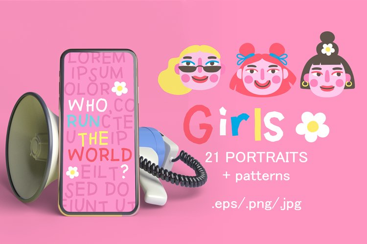 Girls PORTRAITS & patterns set example image 1