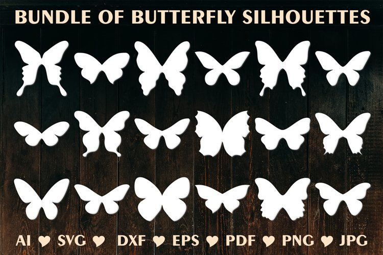 Butterfly SVG, Butterfly Silhouettes, Butterfly Template example image 1