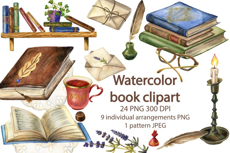 Watercolor Book Clipart,Old Books,Vintage Writing Supplies