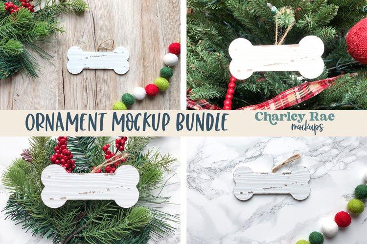 Dog Bone Ornament Bundle Mockup on Tree, Whitewashed Mock Up