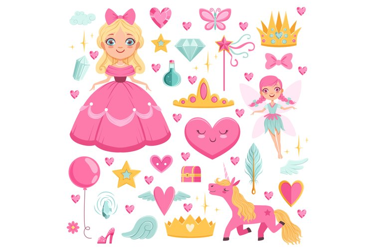 Princess with fairytale unicorn, wizard and their magic elem example image 1