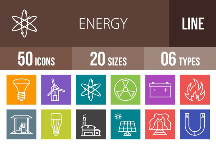 50 Energy Line Multicolor B/G Icons Season II example image 1