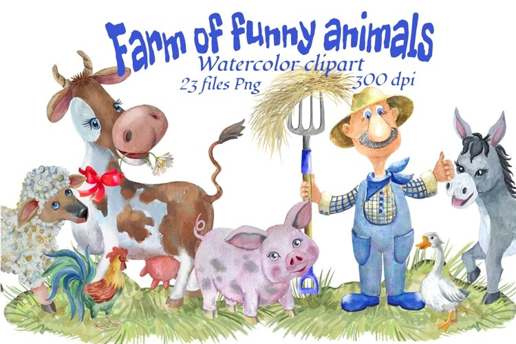 Farm animals watercolor Clipart. example image 1