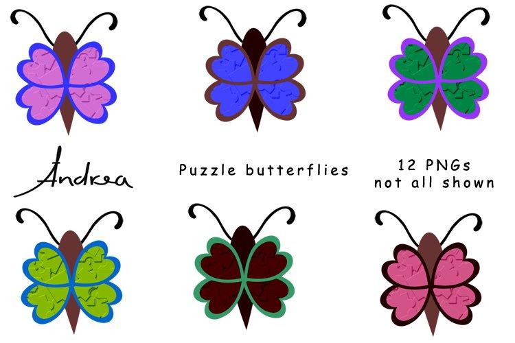 Puzzle butterflies scrapbooking elements example image 1