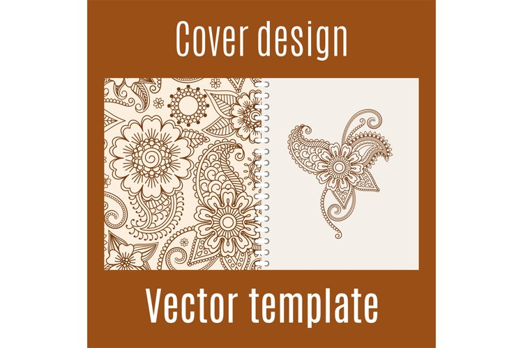 Cover design with henna mehendi pattern example image 1