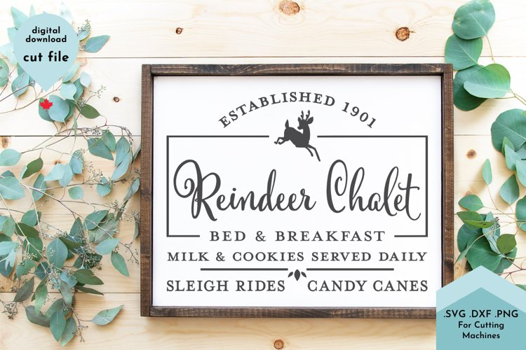 Christmas Sign, Reindeer Bed and Breakfast Vintage example image 1