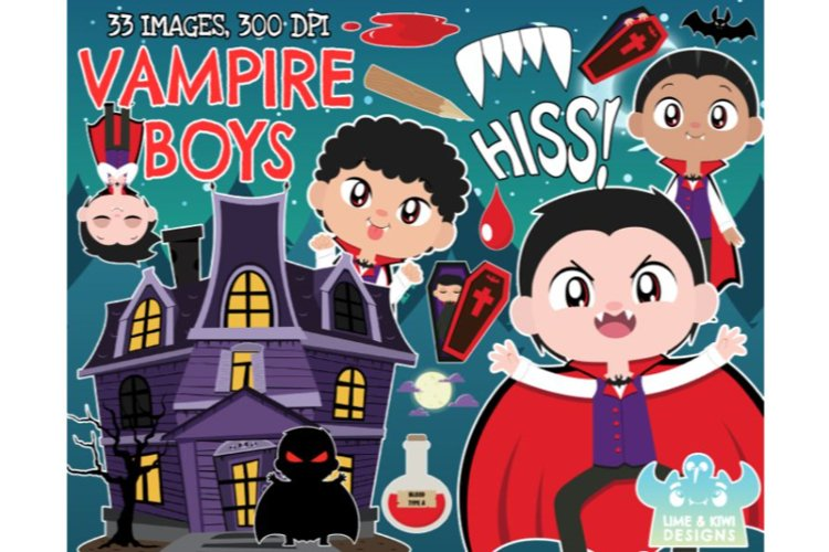 Vampire Clipart - Boys - Lime and Kiwi Designs