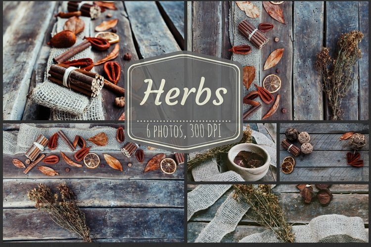 Herbs, potpourri dried fruits background pack example image 1