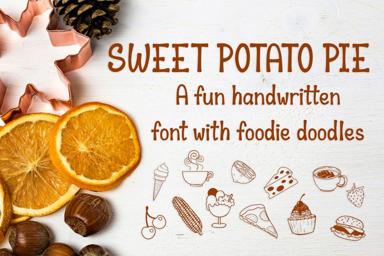 Sweet Potato Pie - a fun font with foodie doodles