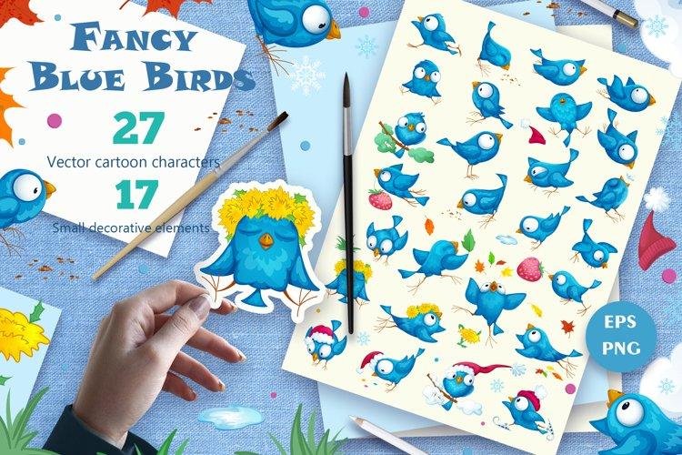 Fancy Blue Birds. Big set. Characters. example image 1