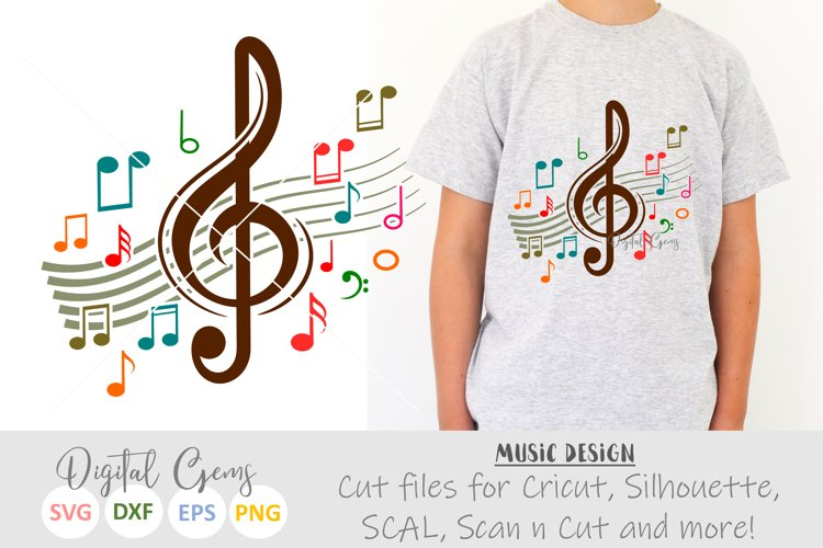 Treble clef with music notes SVG / DXF / EPS / PNG files example image 1