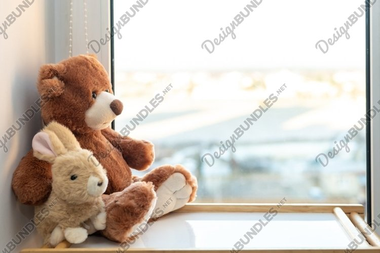 Teddy bear and bunny sits on window still. example image 1