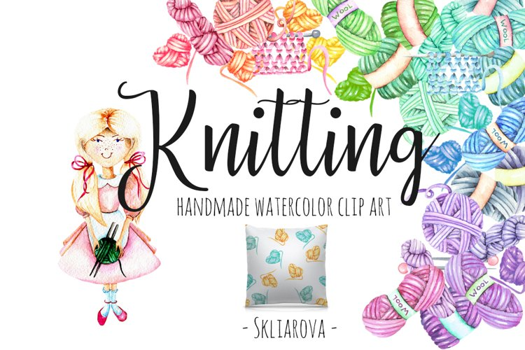 Knitting Watercolor Clip art example image 1